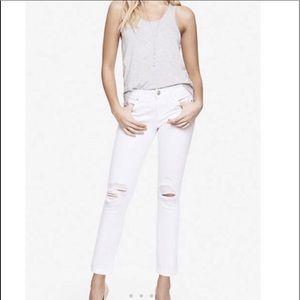 Express White Zelda Skinny distressed Jeans size 6